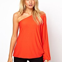 ASOS Top with One Shoulder Volume Sleeve at asos.com