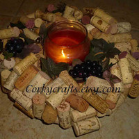 SALE Wine lovers wine cork wreath dark purple by Corkycrafts