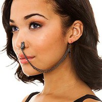 My Enemy by CHRISHABANA Earring Chain Nose Piece Jane Child's Hope in Gunmetal
