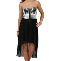 strapless stripe ponte zip front bodice with solid high low skirt  - 1000049563 - debshops.com