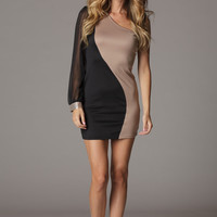 Asymmetric Color Blocked One Sleeve Dress
