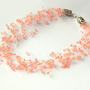 Peach Necklace. Wedding Necklace. Beadwork. Beaded Multistrand Necklace.
