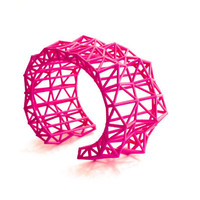 geometric neon jewelry- Faceted Cuff bracelet in Pink. modern design 3D printed. statement jewelry