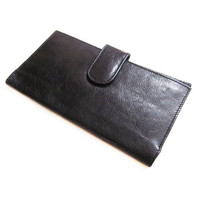 Vintage Black Leather Wallet Clutch