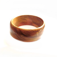 Wide Boho Wood Bangle Bracelet