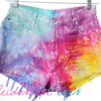 Vintage Levis RAINBOW Marbled Dyed Denim Destroyed High Waist Cut Off Shorts M L