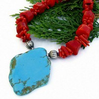 Blue Turquoise Red Coral Necklace Handmade Southwest Unique Jewelry