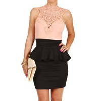 PeachBlack Crochet Peplum Dress