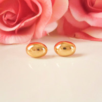 Vintage Button Earrings, Gold Oval Dome Earrings, Ball Stud Earrings,Jewelry, Bridesmaid Earrings, Spring Jewelry, Gold Studs,Minimal style