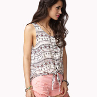 Tie-Front Southwestern Top | FOREVER 21 - 2039803483
