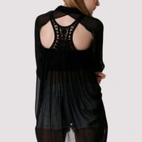 Cut Out Lace Back Drape Shirt in Black