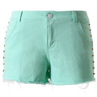 Chicwish Studded Mint Green Shorts