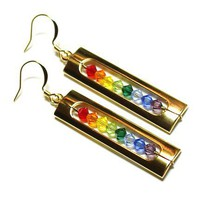 Tilleyjewels Rainbow in a Cage Earrings Gold | tilleyjewels - Jewelry on ArtFire