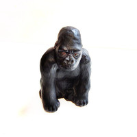 Vintage Black Ceramic Gorilla Bank by JAPAN