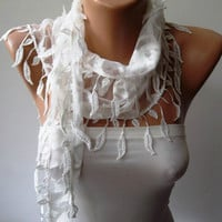 White Lace Scarf with White Trim Edge Shaped Leaves