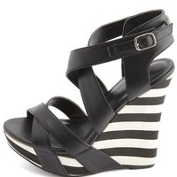 X-Front Striped Wedge Sandal: Charlotte Russe