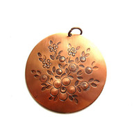 Signed / Stamped Copper Medallion Pendant