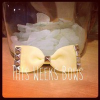 Pale Yellow Studded Hair Bow by ThisWeeksBows on Zibbet