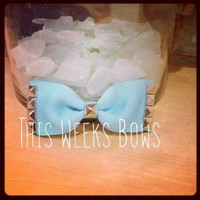 Baby Blue Studded Hair Bow FOUR DIFFERENT BLUES TO CHOOSE FROM by ThisWeeksBows on Zibbet