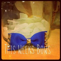 Electric Blue Studded Hair Bow by ThisWeeksBows on Zibbet