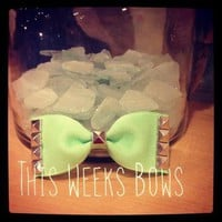 Light Neon Green Studded Hair Bow by ThisWeeksBows on Zibbet
