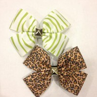Animal print studded hair bow by ThisWeeksBows on Zibbet