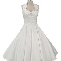 50s  Style Wedding Dresses-Ivory 1950s Inspired Tea Length Dress