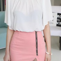 very mini zipper slanted slashed skirt