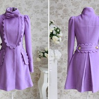 Purple fashion lady long overcoat