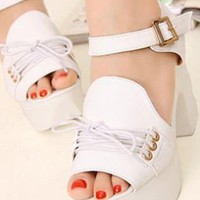 Ladies Fashion Block High Heel Strap Lace Shoes