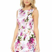 Multi Color Floral Print Sleeveless Dress with Fitted Waist