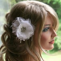White Bridal Hair Accessory, Wedding Bridal Fascinator, Headpiece, Rhinestone Hair Flower Feather Fascinator