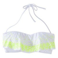 Xhilaration® Junior's Ruffle Bandeau Swim Top w/ Sequin -White