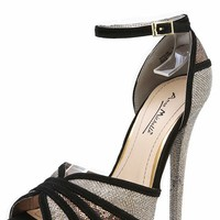 Anne Michelle Baha-08 Gold Glitter Ankle Strap Platform Heels and Shop Shoes at MakeMeChic.com
