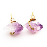 Brandy ♥ Melville |  Amethyst Crystal Earrings - Accessories