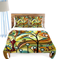 Green & Orange Fall Colors Duvet Color
