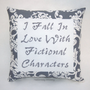 Funny Cross Stitch Pillow, Gray Pillow, Fictional Characters Quote
