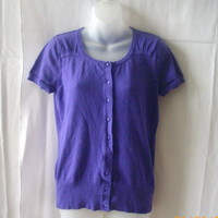 Smart Set large purple short-sleeved cardigan in 80% cotton, 20% nylon