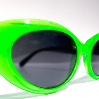 Girls Just Want to Have Fun, Cat Eye Sunglasses,  Neon Lime Green Cateye Glasses, 80s Vintage Cateyes, New Wave Rockabilly