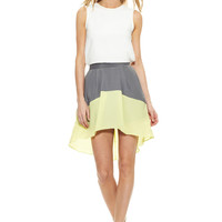 BCBGeneration Bright Lime Colorblock High-Low Skirt