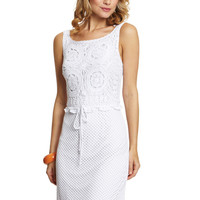 JULIAN TAYLOR White Sleeveless Crochet Sheath Dress