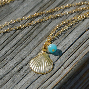 Sea Shell by the summer necklace - Charm necklace, Bridesmaid necklace, Simple necklace, Summer necklace, Friendship necklace, BFF necklace