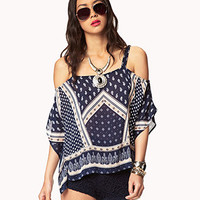 Off-The-Shoulder Scarf Print Top