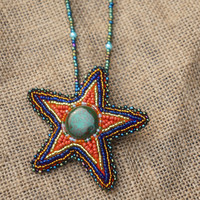 Hand Sewed Beads Starfish Leather Brooch Embellish with Ceramic Parts