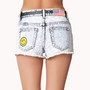 Patchwork Acid Wash Denim Shorts