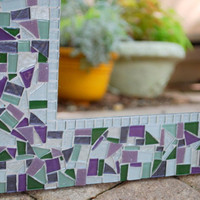 Purple and Green Mosaic Mirror - Made to Order