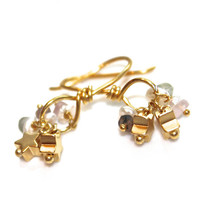 Gold Star Earrings Everyday Jewelry Sapphire Keshi Pearl Gold Loop Minimalist Jewelry FizzCandy