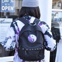 New Retro Ying Yang Studded Backpack Rucksack 1517 from Gone Retro