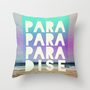 PARADISE (AQUA) Throw Pillow by Leah Flores Designs
