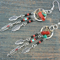 red coral and turquoise dreamcatcher earrings turquoise BLACK in native american tribal boho hippie belly dancer and hipster style
